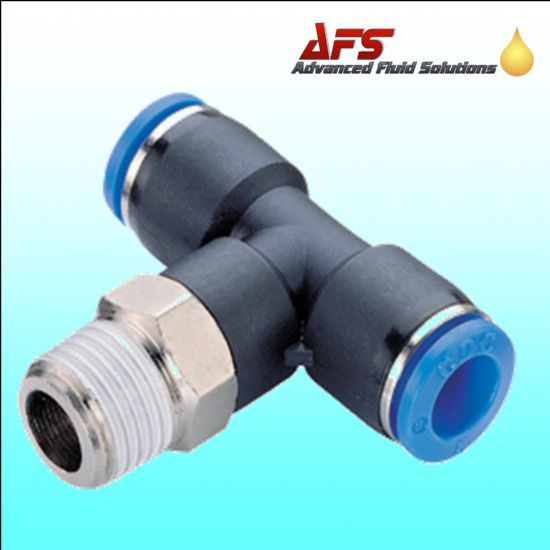 Male Stud Swivel Rotating Branch Tee x BSPT Push in Fittings Metric Nylon Tube Connectors